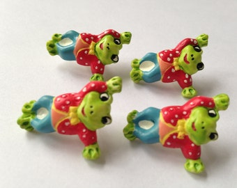 Buttons Dancing frogs 4 pcs