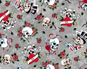 """Ed Hardy  """"Love Is True"""" Love skulls from Quilting Treasures on Gray"""