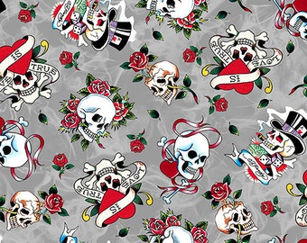"Ed Hardy  ""Love Is True"" Love skulls from Quilting Treasures on Gray"