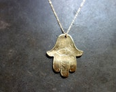 Hand Carved Hamsa / Hand Necklace with Evil Eye