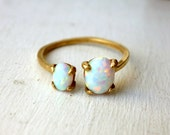 Ready to Ship - Brass Dual Stone Ring- Opal and Opal
