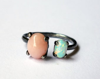 Pink Opal and White Opal Black Sterling Dual Ring