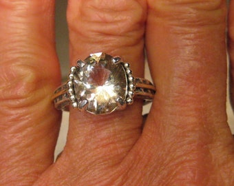 Oregon Sunstone  Sterling Silver and 14 kt Gold ring .Victorian Antique Style.. made in a size 7 1/2 ... e810
