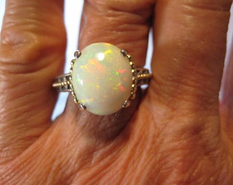Opal  Sterling Silver and 14 kt gold ....Victorian Antique ... size 7  ............    e888