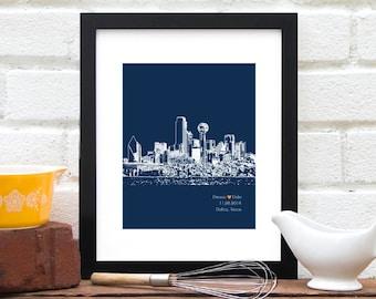 Dallas City Skyline, Dallas skyline art, Personalized Engagement Gift, Dallas Texas, Personalized First Anniversary Gift, Wedding Art - 8x10