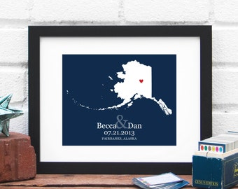 Alaska State Map Art Print Personalized Alaska Art Bridal Shower Gift For Bride State Map Art Print First Anniversary Couples Travel Gift