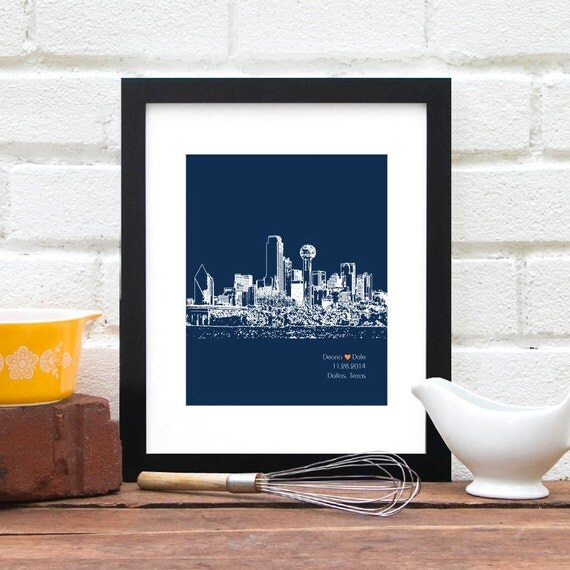 Unique Wedding Gifts Dallas : ... Gift, Dallas Texas, Personalized First Anniversary Gift, Wedding Art