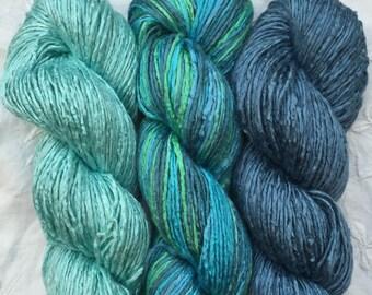 Silk Yarn - Medina cowl pack - Blues READY TO SHIP