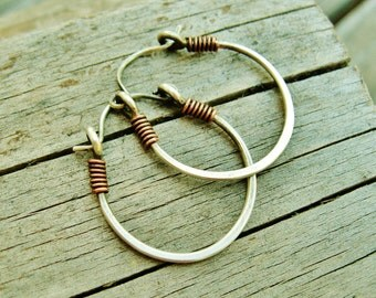 Sterling Silver Hammered Hoops - wrapped with copper - everyday one inch hoop earrings