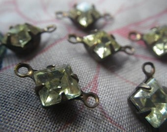 Vintage Jonquil Yellow Rhinestone 6x6mm Square Vintage Glass Connectors Two Loops 8 Pcs