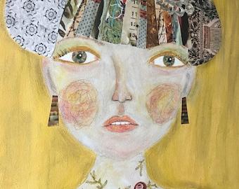 Fluttering Yellow Thoughts.  Original Mixed Media Art