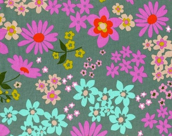 Vintage Flora Aqua (cotton Lawn) by Melody Miller for her Playful Collection for Cotton+Steel