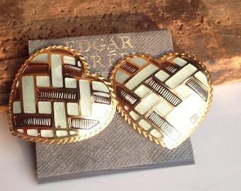 Vintage Earrings, Big Earrings, Edgar Berebi Earrings, Enamel Earrings, Heart Earrings, Never Worn, New Old Stock, Light Green Enamel