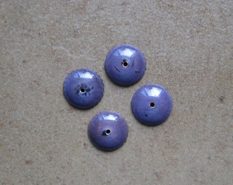 Enamel Bead Caps - Bead Caps - SueBeads - Purple Round Bead Caps - Enameled Bead Caps