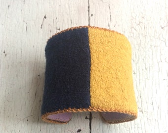 Navy and Gold Color Block Woolly Adjustable Cuff