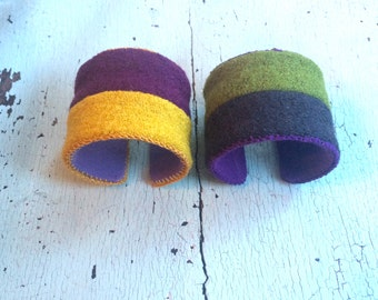 Color Block Nubby Woolly Adjustable Cuffs