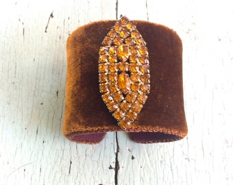 Amber Silk Velvet and Rhinestone Cuff
