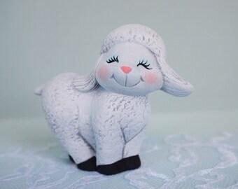 Ceramic Lamb-Little Lamb-Sheep- Spring lamb- baby sheep- cute little lamb-Easter lamb-sheep nic nac-Easter gift