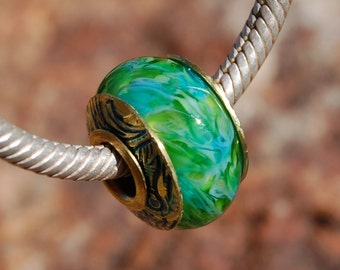 Lush & Tropical - Dan O Beads - capped 'n cored lampwork bead for add a bead european charm chains