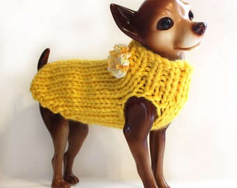 Hand Knit Yellow Dog Sweater w/ Flower
