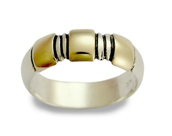 Wedding band, two tones band, Men's wedding band, sterling silver ring, silver yellow gold ring, unisex band - Full volume R0192