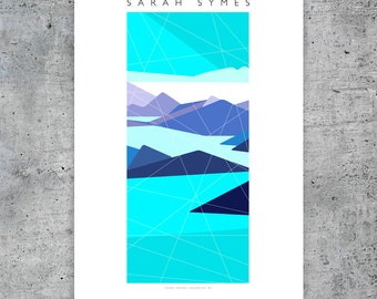 "Howe Sound, Squamish Street Banners, Abstract Landscape Art Print Poster  - 12""x18"""