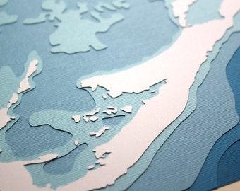 Bermuda - original 8 x 10 papercut art in your choice of color