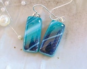 Fused Art Glass Earrings, Dangle, Sterling Silver, Green, Teal, Turquoise, White, A2