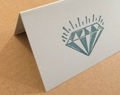 Sparkling Diamond Jewel Note Cards Folded 8 Pack Letterpress
