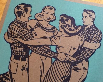 SQUARE DANCE Basket hands around. Hand Printed Letterpress Poster