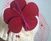 Valentine Red felt flower fascinator Birdcage Veil, 1970's Style-Millinery Felt flower- Headband-handmade Flower & Birdcage Veil