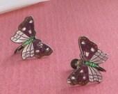 RESERVED!! Vintage Sterling Silver Cloisonne Enamel Butterfly Earrings, Purple Jewelry, Figural Jewelry, Bug Earrings, Insect Earrings