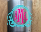Mint and Neon Pink Scroll Scrolly Monogram Vinyl Decal for Yeti Cups, Car, iPads, Computer or Whatever other Surface you can Find!!