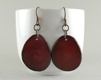 Merlot Tagua Nut Eco Friendly Earrings with Free Shipping in the USA