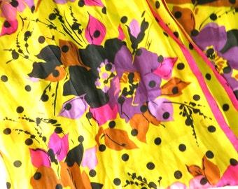 Oscar De La Renta Polka Dot Scarf // Floral 90's Scarf // Yellow and Pink // Purple