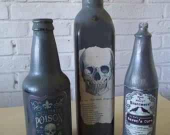 Set of 3 Painted Poison Bottles, Halloween Decor, Apothecary Bottle, Upcycled Bottles