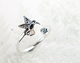 Hummingbird ring, Sterling Silver, flower, adjustable, Bird ring, Nature jewelry