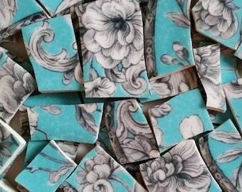 Mosaic tiles- Rosaceae Floral- Turquoise-80Tiles