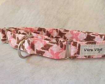 Warm Wags Pink and Brown Plaid Martingale Collar