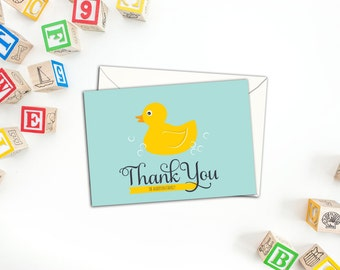 Rubber Duckie Folded Thank You cards, Family Fun Note Cards, Set of ten Cards, Personalized Rubber Duckie Cards, Thank you Cards, Note Cards