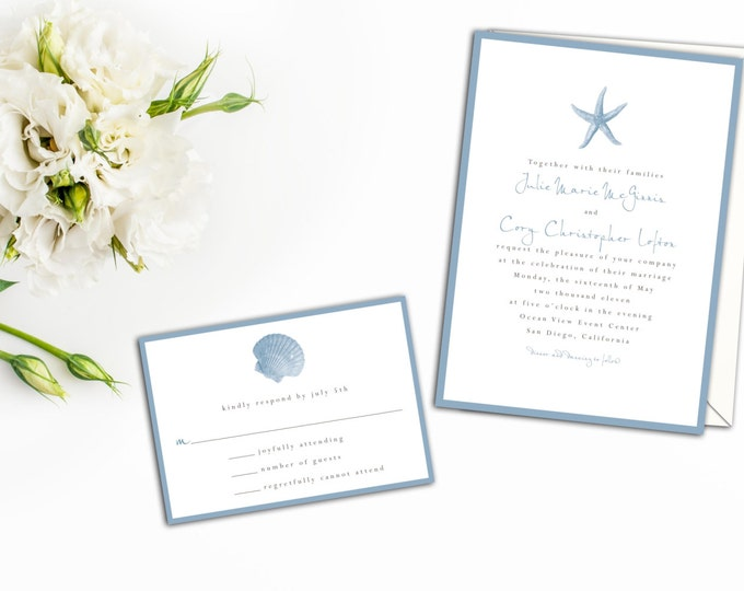 Starfish Wedding Invitation, Beach Wedding Invitation, Wedding Response cards, Thank you Cards, Save the Date, Simple Seashell Invite