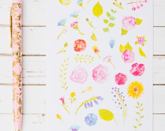 Cute Watercolor Flower GLOSS Sticker Sheet | For Kikki K, FiloFax or other Journals and  Planners