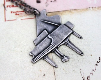 piano necklace. silver ox