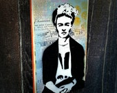 Frida Graffiti Painting on Canvas Pop Art Style Original Artwork Stencil Urban Street Art Mexican Folk Art