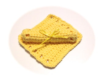 Yellow Crocheted Square Baby Wash Cloths-Pair