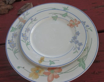 Vintage Semi-Porcelain Serving Plate and Three Dessert Plates - International Candlelight