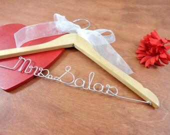 Last Name Hangers Custom Name Hangers Bridal Hangers Bridal Accessories Wedding Dress Hangers Personalized Hangers Photo Props