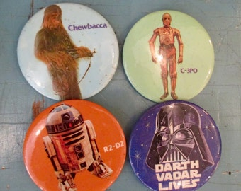 1977 Star Wars Buttons - 3 inch - choose Chewbacca - C-3PO - Darth Vader - R2-D2