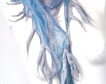Blue Fairy Nuno Felted Scarf -  Short Summer Scarf