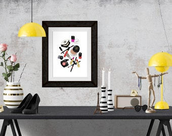 Chanel Makeup Haul Fashion Illustration Art Poster
